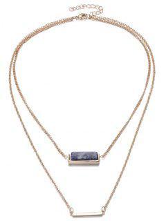 Faux Gem Bar Necklace - Blue
