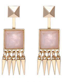 Faux Gem Rivet Earrings - Pink