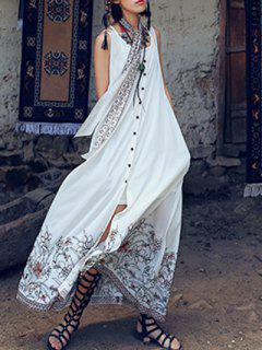 Printed Sleeveless High Slit Shirt Maxi Dress - White S