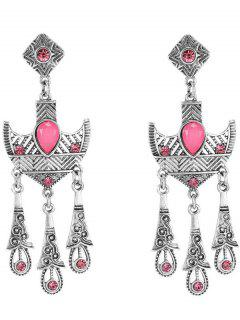 Rhinestone Anchor Earrings - Pink