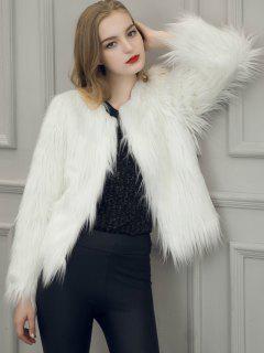Fluffy Faux Fur Coat - White L