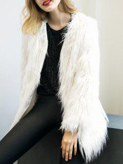 Open Front Fluffy Faux Fur Coat - White S