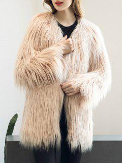 Open Front Fluffy Faux Fur Coat - Nude Pink 3xl