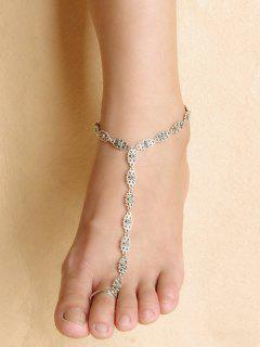 Hollow Out Flower Indian Anklet - Silver
