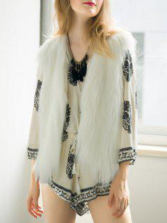 Thicken Solid Color Faux Fur Waistcoat - White S