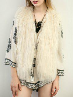 Thicken Solid Color Faux Fur Waistcoat - Off-white S