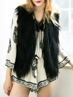 Thicken Solid Color Faux Fur Waistcoat - Black S