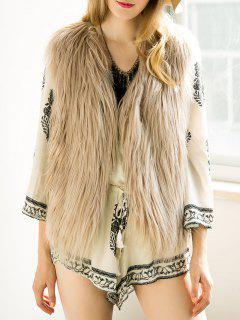 Thicken Solid Color Faux Fur Waistcoat - Light Khaki S