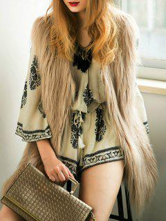 Thicken Solid Color Long Faux Fur Waistcoat - Light Khaki M