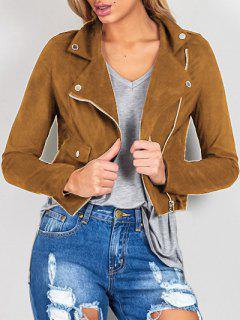 Suede Col à Revers Zipper Jacket - Brun M