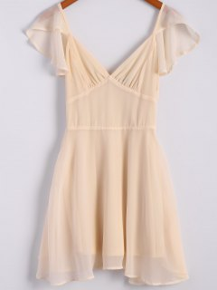 Solid Color Flounce Short Sleeve Chiffon Dress - Apricot L