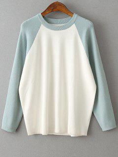 Color Block Round Neck Sweater - Light Green