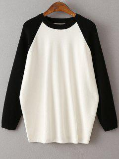 Color Block Round Neck Sweater - Black