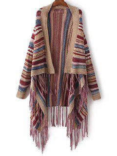 Striped Tassels Spliced Asymmetric Cardigan - Brown