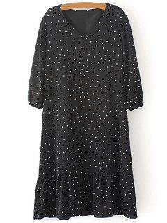 Polka Dot V Neck 3/4 Sleeve Dress - Noir M