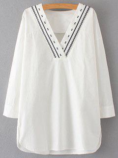 De Manga Larga Con Cuello En V Vestido Recto - Blanco M