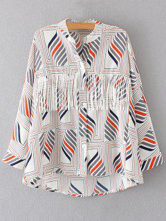 Geometric Print Stand Neck Long Sleeve Blouse - S