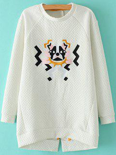 Cartoon Embroidered Stand Neck Sweatshirt - White S