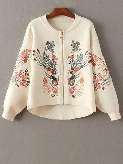 Embroidered Zipped Cardigan - Off-white