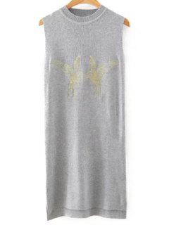 Bird Embroidered Sweater Dress - Gray