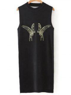 Bird Embroidered Sweater Dress - Black