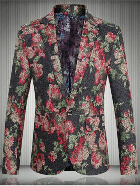 shop Floral Flap Pocket One-Button Lapel Long Sleeve Blazer For Men - RED 5XL Mobile