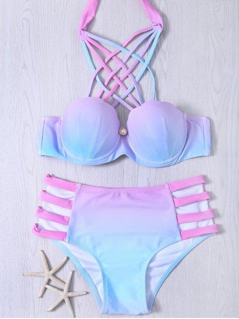 Ausgeschnittenes Schnürung Gradient Bikini Set - COLORMIX  S Mobile