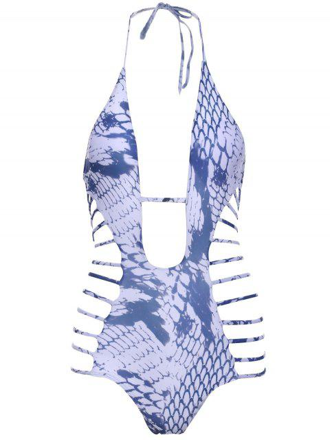 chic Snakeskin Print High-Cut One-Piece Swimwear - WHITE M Mobile