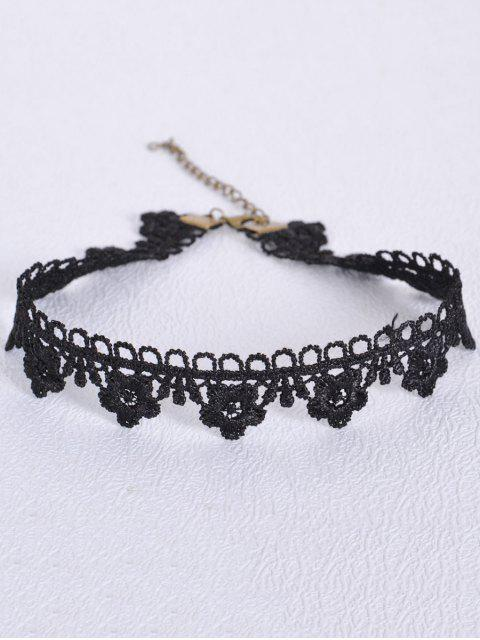 women Hollowed Flower Choker - BLACK  Mobile