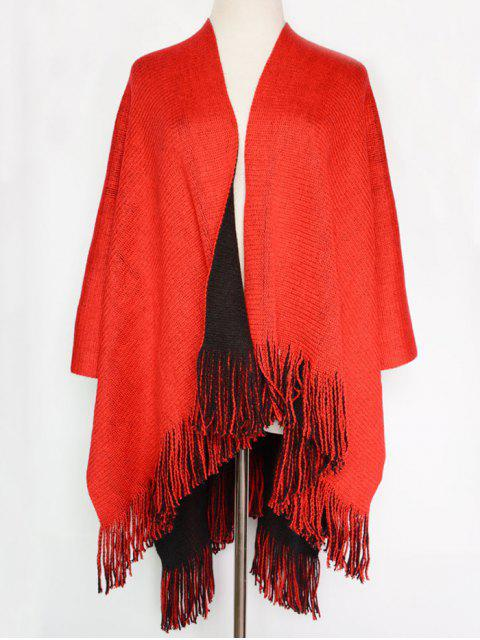 fashion Long Tassel Two-Sided Pashmina - RED WITH BLACK  Mobile