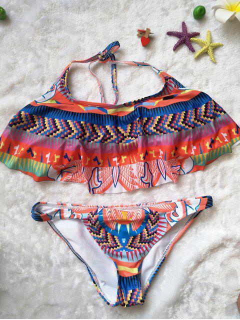 Bikini à bretelle imprimé de motif ethnique avec décoration de falbalas - coloré L Mobile