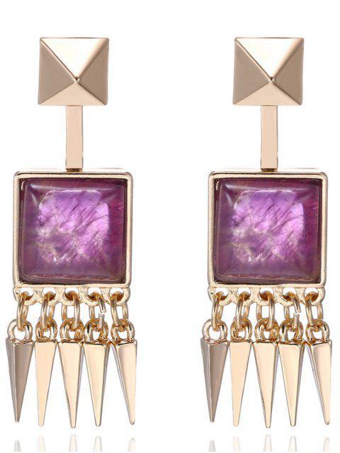 lady Faux Gem Rivet Earrings - PURPLE  Mobile