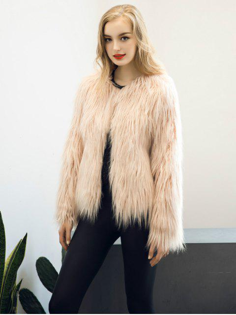 lady Fluffy Faux Fur Coat - LIGHT PINK 3XL Mobile