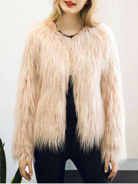 best Fluffy Faux Fur Coat - LIGHT PINK 2XL Mobile