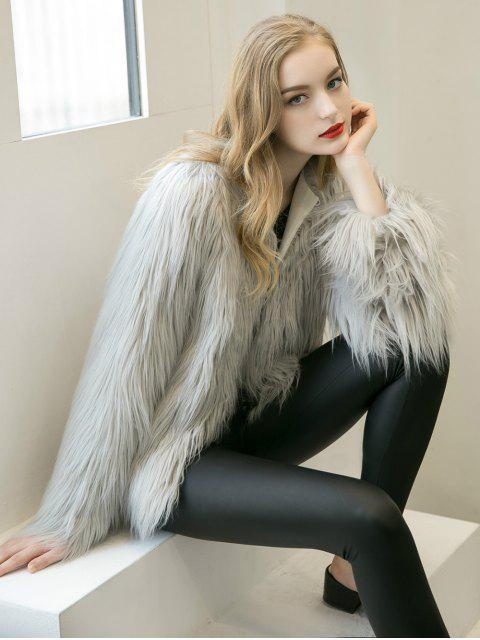 shop Fluffy Faux Fur Coat - LIGHT GRAY 2XL Mobile