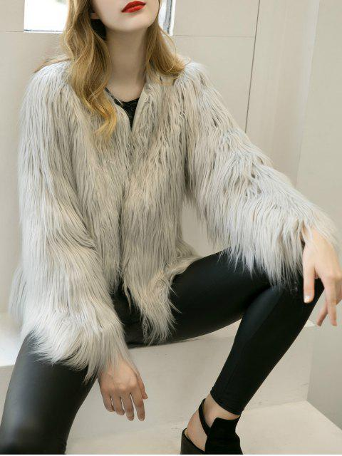 fashion Fluffy Faux Fur Coat - LIGHT GRAY S Mobile