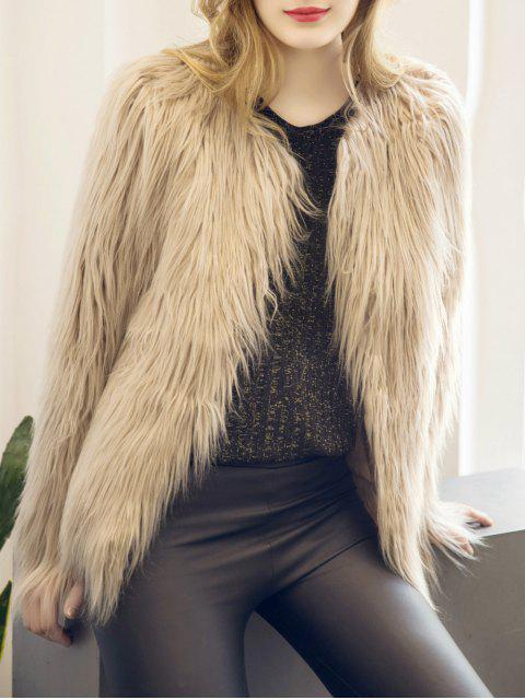 chic Fluffy Faux Fur Coat - LIGHT KHAKI 3XL Mobile