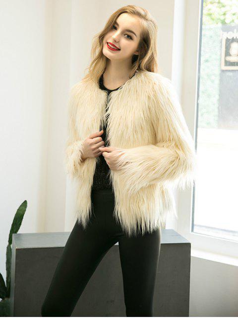 women's Fluffy Faux Fur Coat - BEIGE XL Mobile