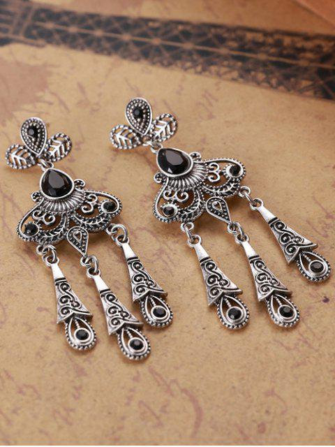 outfits Leaf Water Drop Earrings - BLACK  Mobile