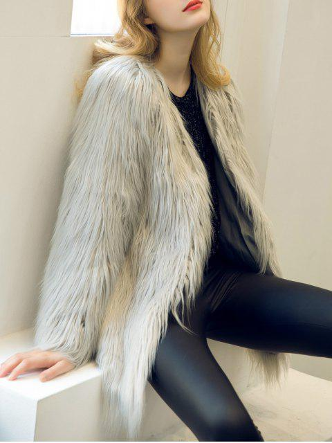 outfits Open Front Fluffy Faux Fur Coat - LIGHT GRAY M Mobile