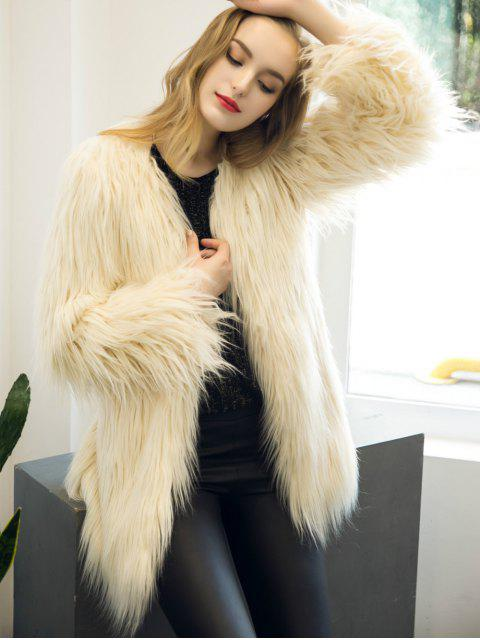outfits Open Front Fluffy Faux Fur Coat - BEIGE M Mobile