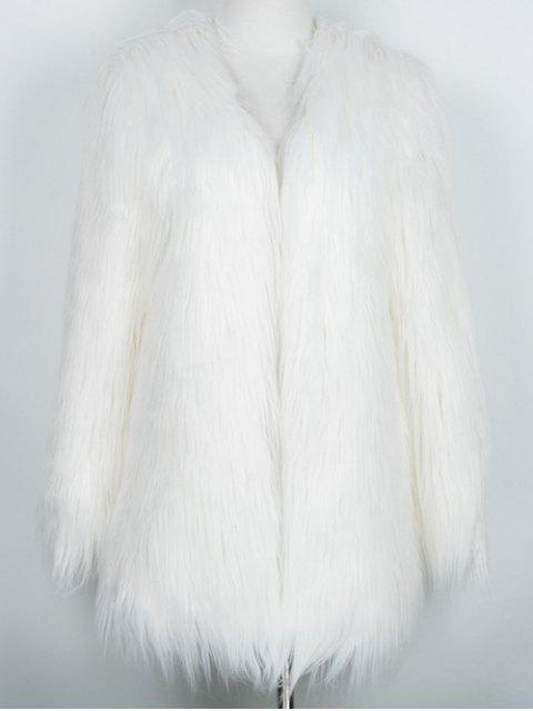 chic Open Front Fluffy Faux Fur Coat - WHITE M Mobile