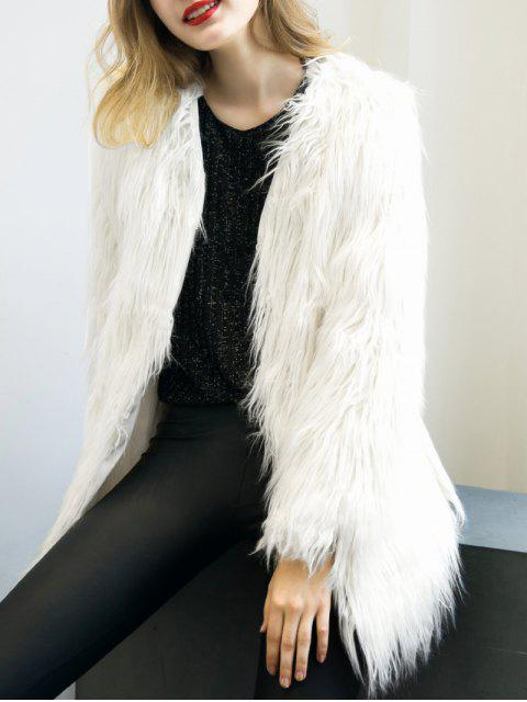 fancy Open Front Fluffy Faux Fur Coat - WHITE S Mobile