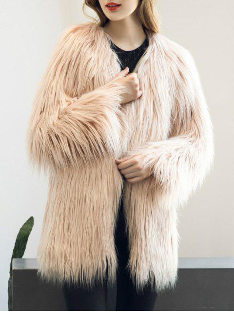 affordable Open Front Fluffy Faux Fur Coat - NUDE PINK XL Mobile