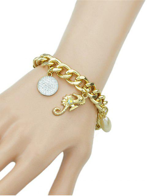 shops Rhinestone Leaf Cross Bracelet -   Mobile