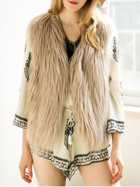 shops Thicken Solid Color Faux Fur Waistcoat - LIGHT KHAKI S Mobile