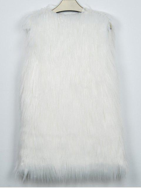 women Thicken Solid Color Long Faux Fur Waistcoat -   Mobile