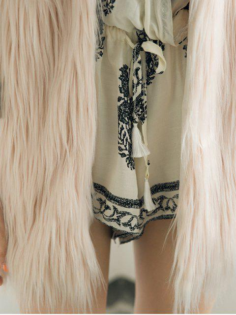hot Thicken Solid Color Long Faux Fur Waistcoat -   Mobile