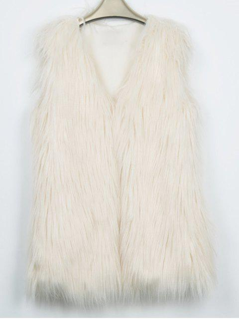 outfit Thicken Solid Color Long Faux Fur Waistcoat -   Mobile