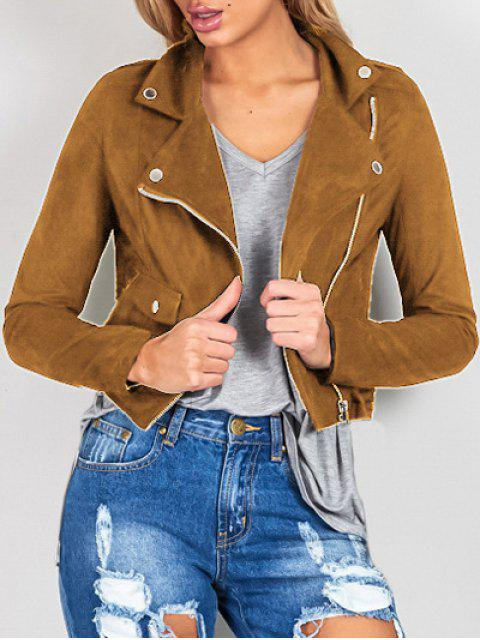 ladies Suede Lapel Collar Zipper Up Jacket - BROWN M Mobile